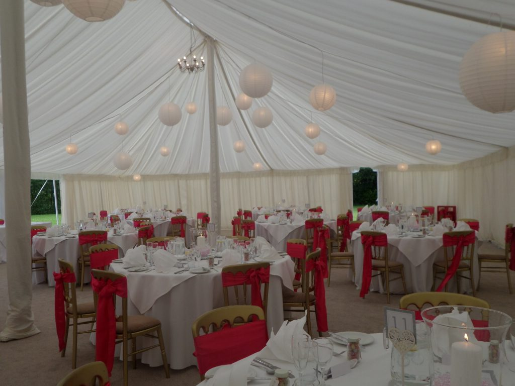 Inside the marquee at Prested Hall